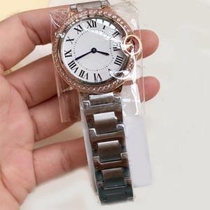 Diamantes tamaño de 33 mm Bisel mujeres del reloj de cuarzo reloj con estilo para mujer Relojes de plata y de oro rosa de acero inoxidable reloj mejor regalo para las señoras