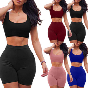 2PCS Women's Crop Tops+ Shorts Pants Bodycon Casual Outfit Sportswear Tracksuit Free Shipping