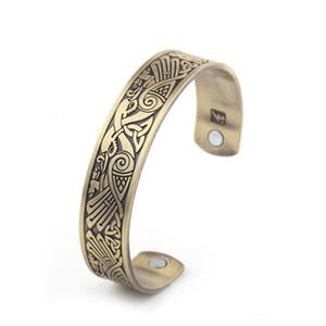 Metal Engraved Vintage Phoenix Bangles Open-ended Stainless Steel Mafnetic Designer Bracelet Healthy Magnetic Bracelet For Mens