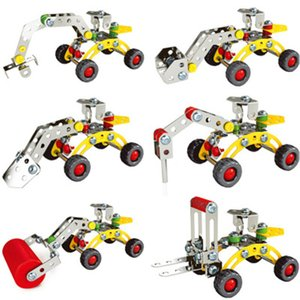 Assembled mini toy engineering car metal building block nut assembly machine car toy exercise hands-on ability educational children toy
