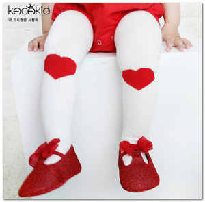 2020 New girls tight baby kids non-slip princess pantyhose children love heart knitted leggings valentine's day girls cotton bottom J2776