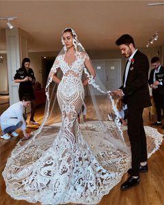 2020 Luxo ver através Lace Appliqued Mermaid Wedding Vestidos Sexy Catedral Trem Plus Size bainha do vestido nupcial Com Veils