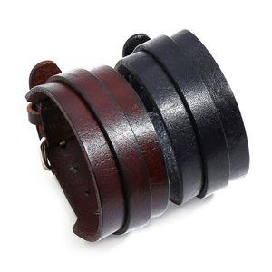 Vintage Casual Wide Bracelet Black Brown Genuine Leather Biker Wristbands Cuff Charm Bangle Belt Adjustable Punk Fashion Jewelry