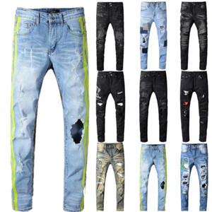 dos homens Denim calças calças de brim de néon amarelo linhas de cor patchwork jeans rasgado buracos moda de alta qualidade destruída calças stretch denim