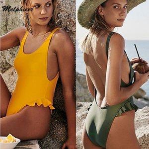 Melphieer Sport Sarı Katı Mayo Scoop Boyun fırfır One Piece Mayo Kadınlar Yaz Tel Ücretsiz monokinis Beachwear Mayo