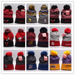 YENİ Toptan kış Beanie Örgü Şapka Spor Takımları beyzbol futbol basketbol Beanies Kadınlar Erkekler kış sıcak şapka DHL ücretsiz gönderim kapakları