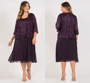 2019 Scala Tea Longueur Mère de la mariée Robes de mariée avec des appliques Bolero et Perlé V Cou Une ligne robes de soirée, plus la taille