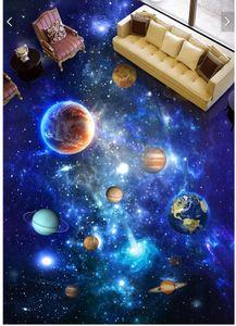 WDBH 3d plancher en pvc personnalisé photo Univers Galaxy Sky Planet Sol autocollant décor à la maison 3d peintures murales papier peint pour le salon