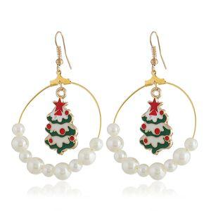 Pendientes Perlas de Bell cuelgan de Navidad de Santa Claus gota para el oído colgante del árbol de navidad Stud Adornos de Navidad regalo de Año Nuevo