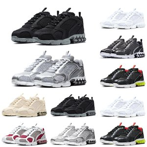 Zoom Spiridon Caged Mens Trainer Mesh Platform Running Shoes Black Grey Metallic Silver Men Women Sports Sneakers Size 5.5-11