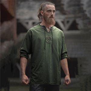 La chemise des hommes cosplay costume médiéval chevalier guerrier Tunique Veste vintage de Halloween Party Carnaval Fantaisie Viking Pirate T-shirt saxon