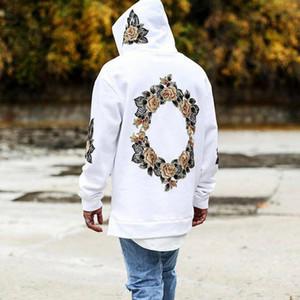Autumn Novo Design Flor Imprimir Hoodies Homens Hip Hop Cool Mens moletom bordado camisola Men StreeWear Hombres Sudaderas