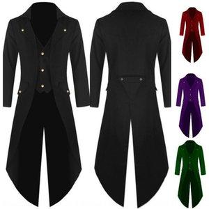Men's coat solid color steampunk tuxedo evening dress banquet men's uniform dress