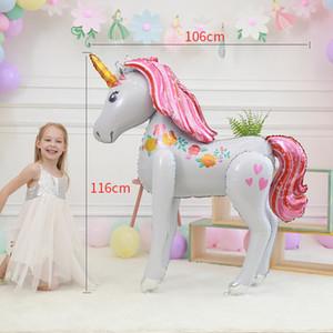 Large Size 3D Unicorn Balloons Magisches Einhorn-Partei Folienballon Mylar Ballon-Babyparty-Mädchen-Geburtstags-Party-Dekorationen für Kinder