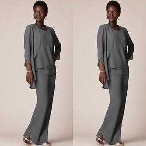 Gri Şifon Örgün Pantolon Anne Damat Elbiseler için Suits Akşam Giyim Uzun Anne Gelin Elbiseler ile Ceketler Artı Boyutu Custom Made