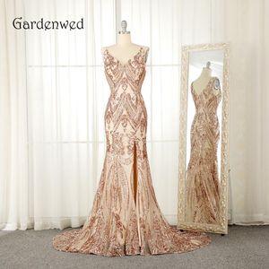 Gardenwed 2019 Champagne goldene Meerjungfrau Abendkleid Sparkly Sequin-Seiten-Schlitz Lange Frau Verpflichtungs-Kleid