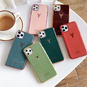 Solid Color Elk Phone Case для iPhone11Pro / Max X XS Max XR Мягкий силиконовый чехол для iPhone11 7 8 6 6s Plus Case