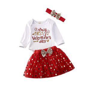 0-18M Valentine Hediye Bebek Çocuk Kız Bebek Giyim Uzun Kollu Body Üst Romper Polka Dot Etek Elbise Şık Kıyafetleri set set