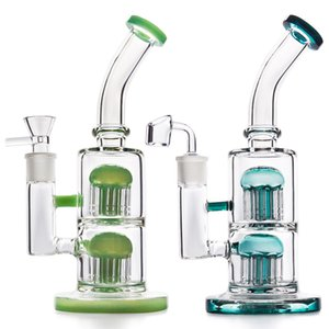 Glass Bong Water Pipe 10inches Dab Oil Rig Recycler Bubbler with 18.8mm glass bowl Oil Burner glass pipe