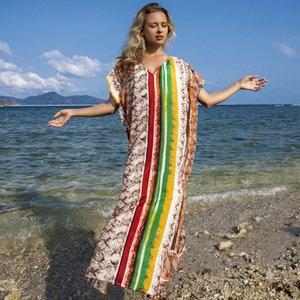 Tığ Plaj Elbise Tunik Uzun Tunikler Kapak-Ups İpek Yılan Dikey Çizgili Güneş Geçirmez Gömlek Robe Etek Bikini Dış Kapak Baskı