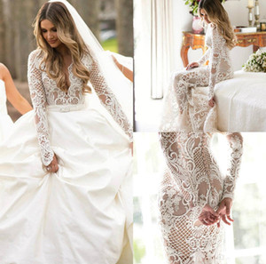 2020 vestidos de novia de barrido sobrefalda desnuda tren vestido de novia de encaje apliques sirena de satén de la guarnición por encargo Vestidos de novia Vestidos de boda