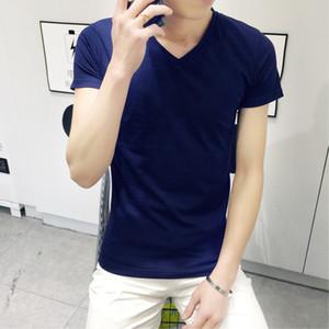 Cheap Men's V-neck Half Sleeve Solid Color Blank T-shirt MEN'S Short Sleeve Shirt Tight Elasticity Sweetheart Neckline V-neck T-