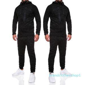 Fashion-2018 Brand New Fashion Men Tracksuit Jogging Hoodie Coat Jacket + Trousers Pants Sports Sweat Suit Set