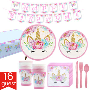 Unicorn Party Supplies Pink Rose Unicorn theme Birthday Party Decorations set Magical Rainbow Princess tableware for girls theme birthday