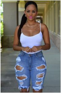 Женская Hight талии Короткие джинсы дизайнер Омывается рваные джинсы Мода лето колен джинсы Женская одежда