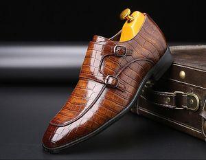 2019 Classic Crocodile Pattern Business Flat Shoes Men Designer Formal Dress Leather Shoes Men's Loafers Christmas Party Shoes