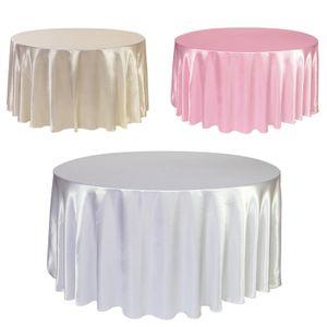 1pcs cetim Toalha de Mesa 57 90 120in Branco Cor preto sólido para Tampa Tabela festa de aniversário do casamento Round Table Cloth Home Decor