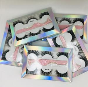2019 O mais novo cílios falsos 3d cílios vison 3 par cílios grossos Faux 3D real vison cílios com pinças em caixa de 6 estilos