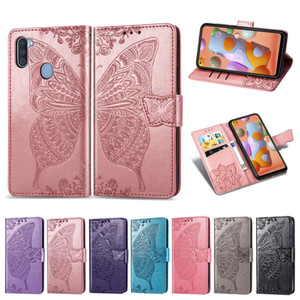 Handphone couverture de cas pour Samsung Galaxy A11 en cuir PU avec carte Wallet Porte-Emboseed Convex Fleur papillon (Modèle: A11)