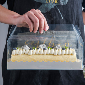 Trasparente torta del rullo Packaging scatola con la maniglia Eco-friendly di plastica trasparente Cheese Cake Box cottura swiss roll Box ZZA1864