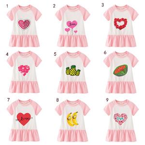 Kız Çocuklar saf pamuklu elbise moda kısa kollu karikatür meyve aşk etek çocuklar kız tasarımcı elbise M050
