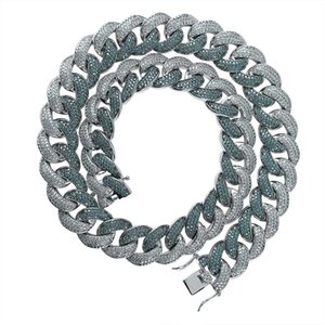 Hip Hop Mint Green Cuba Chain Necklace Jewelry Mens Diamond Tennis Chain Necklace High Quality Shining Zircon Necklaces