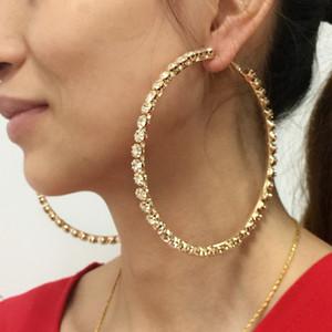 97mm de mariage Diamètre Big cristal Boucles d'oreilles pour les femmes 2018 strass Boucles d'oreilles Déclaration Brincos Bijoux