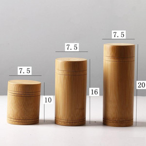 Bamboo Storage Bottles Jars Wooden Small Box Containers Handmade For Spices Tea Coffee Sugar Receive With Lid Vintage party gift