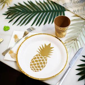 53pcs / set Rose Gold Einweggeschirr-Party Pappteller Strohhalme Ananas Geburtstag Baby Shower Party Supplies Hochzeitsdeko
