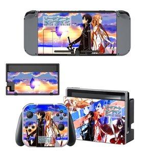 Anime Girl Sword Art Online SAO vinilo de la etiqueta engomada de la piel para el interruptor de Nintendo NS controlador de la consola + + sostenedor del soporte de película protectora