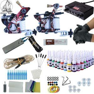 Kit de maquillaje del kit del tatuaje 2 pistolas completa inmortal tintas del color de fuente de alimentación del tatuaje Máquinas Agujas Accesorios Kits Permanente