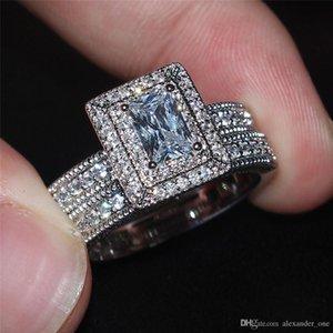 2018 Lady Viatage 10KT or blanc rempli d'anneaux carrés diamant simulé CZ pierre précieuse bagues doigt ensembles ensembles de mariage mariée bijoux pour femmes