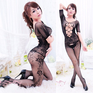 Sexy Balck Lingerie vêtements de nuit Floral Crotchless Fishnet Stocking Bodysuit de nuit ouvert Crotch poisson net Babydolls
