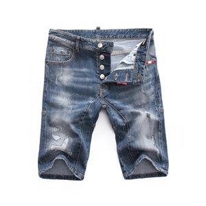 2020 new Italian brand fashion casual mens short pants denim stripe broken copper jeans button Hip Hop Denim Tearing shorts Jeans