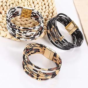 Pulseiras Leopard couro para Mulheres Multi-Layer couro wrap pulseira artesanal pulseira Cuff Bangle com Magnetic Buckle Jóias
