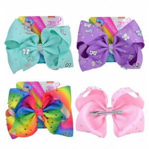 8 '' Clip Rainbow Butterfly Hairpin Gradient Ripsband Bow Strass Taille mit Krokodilklemmen A263 Drucken