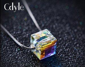 Collier en argent S925 pendentif collier en cristal cube Rubik le meilleur cadeau pour la fête d'anniversaire toutes sortes de fête