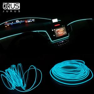 소켓 인버터 JURUS 5M 자동차 인테리어 조명 주변 조명 엘 콜드 네온 빛 라인 대시 보드 Led 스트립 12V 담배 라이터