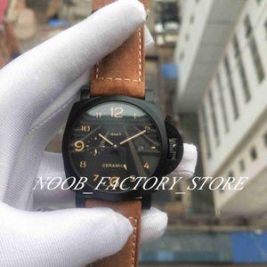 Fábrica nova foto real relógio 44mm preto rosto marrom strap super 1950 p 441 movimento automático moda mens relógios com caixa origina