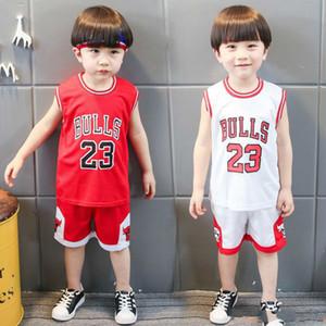 Yaz Bebek Boys tişört şort Çocuk Basket Giyim Çocuk Nefes Spor Kolsuz Yelek Pantolon Bebek Giyim Setleri Tops Takımları